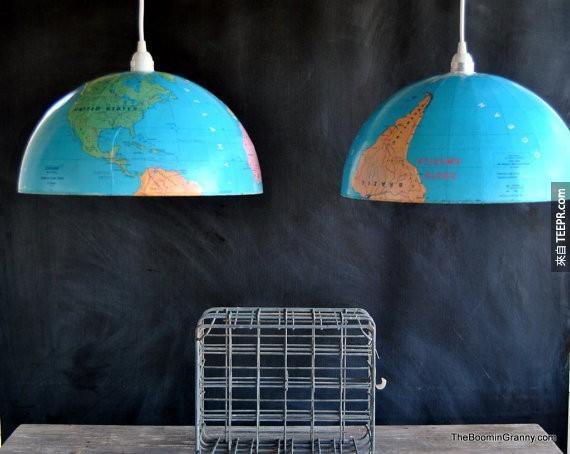 19. 用旧的地球仪变成吊灯。