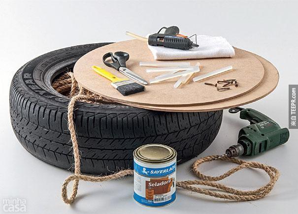 9. 把旧的轮胎变成一个时尚的奥斯曼椅。
