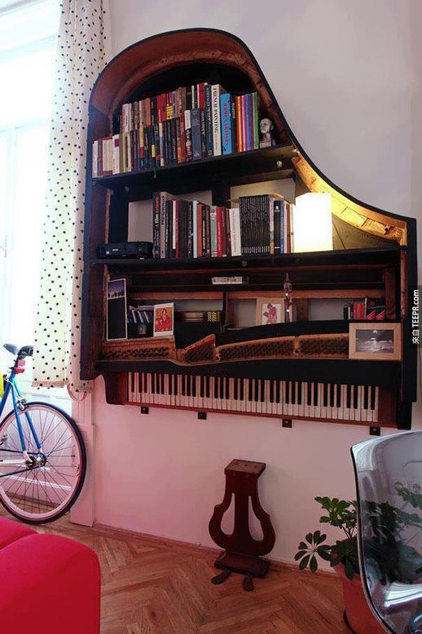 1. 一个旧的钢琴被变成书架。