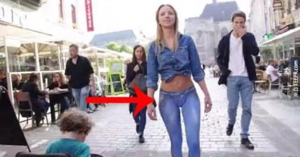 這位美女穿的牛仔褲真好看,是什麼牌子的?當我近看的時候,等一下...這不是褲子阿!
