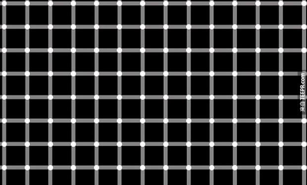 在這張照片中的每一個點都是白色的,但有一些看起來卻是黑色的。