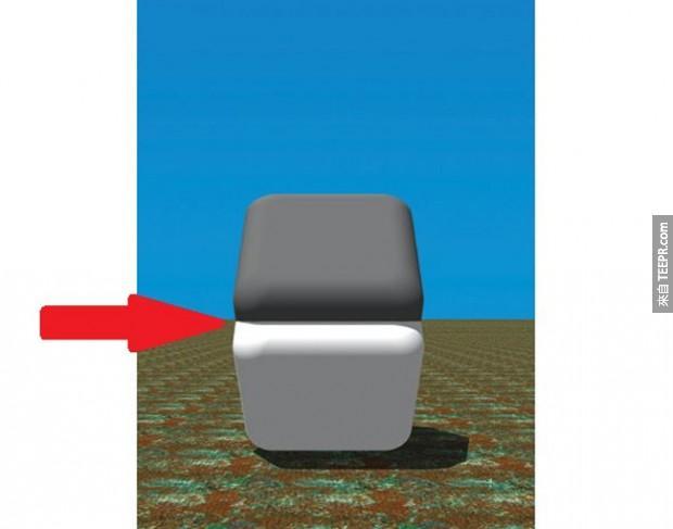 上面的正方型顏色看起來似乎比下面的還要深,但事實上它們顏色是一樣的 (除了它們的邊界)。嘗試用你的手指擋住兩個形狀的邊界(就是紅色箭頭指的地方),顏色就會被修正了。