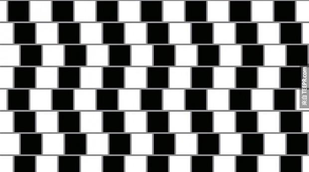 這些垂直的線條看起來似乎有點參差不齊,但只要看得夠久,你會發現這些線條相互都是平行的。