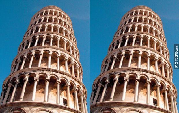 右邊的這個比薩斜斜塔看起來似乎更加向右傾斜,但事實上它們是平行的。