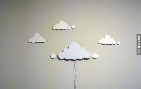 11.) 這種雲朵狀的吊燈很容易簡單,但卻非常好看。