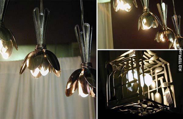 14.) 有一些不用的银器吗?它们也是超棒的吊灯材料!