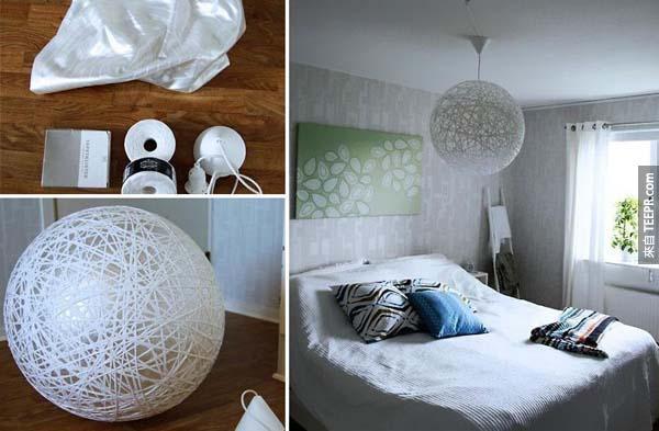 17.) 利用瑜珈球,可以让你做出一盏超棒的纱质吊灯。