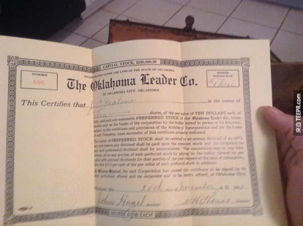 這是持有奧克拉荷馬領導公司3股股份的憑證。每股10美元。