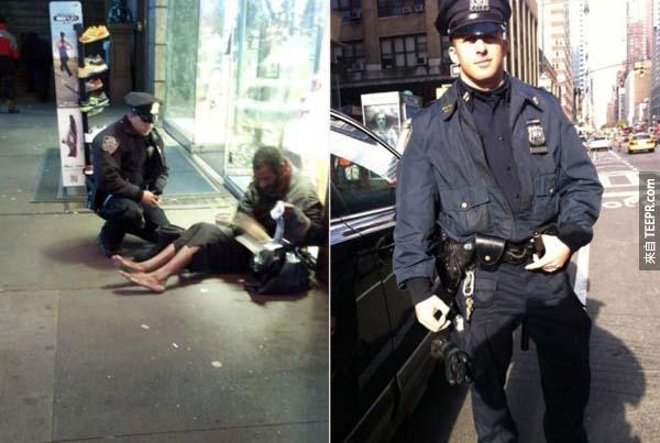 38.) 在這寒冷的天氣中,警察帶了靴子給這位打著赤膊的無家可歸男子。