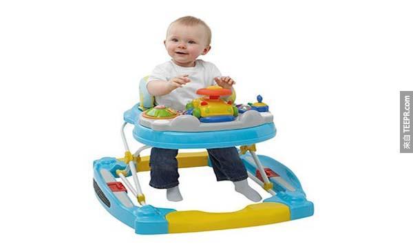 24.) 嬰兒學步車(加拿大): 研究顯示使用嬰兒學步車會減緩小朋友動作技能的發展,因此決定在2004年嚴明禁止。