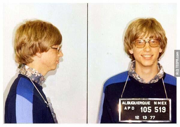 2)比爾·蓋茨的面部照片為無證駕駛(1977)。