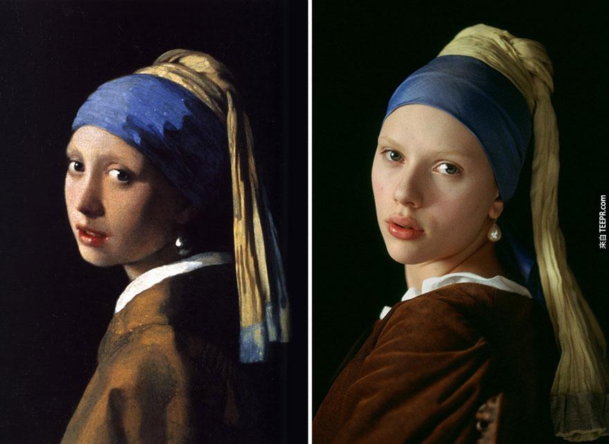 """""""女孩與珍珠耳環"""" (The Girl With The Pearl Earring) - 揚·弗美爾 (Johannes Vermeer)。還有沒錯,右邊那位是斯嘉麗·約翰遜。"""