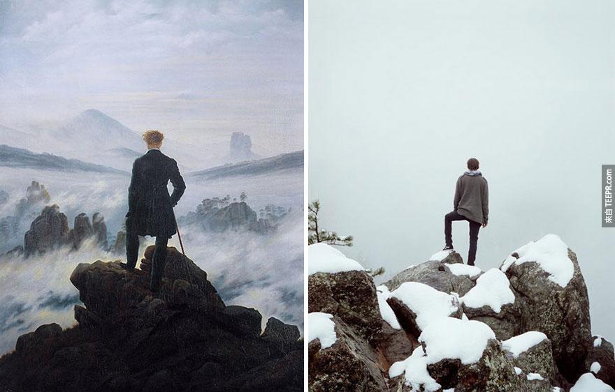 """霧海上的旅人"" (Wanderer above the Sea of Fog) — Caspar David Friedrich"