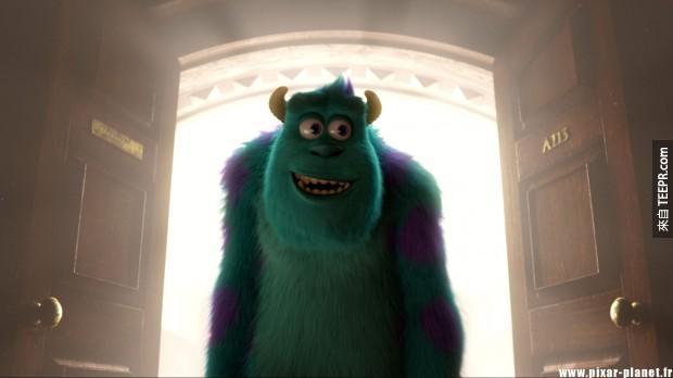 在《怪獸大學》裡,那組號碼就在門上。