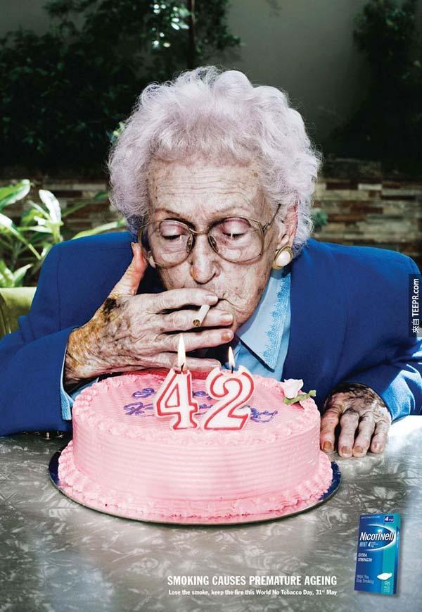 22.) 抽煙會導致快速老化。