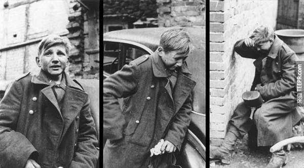 3.) 哭泣的男孩士兵: 這位16歲的男孩叫做Hans-Georg Henke, 他是希特勒青年團的一員。這張照片攝於德國投降的前一天,當時拍下了他的極度恐懼與悲傷。