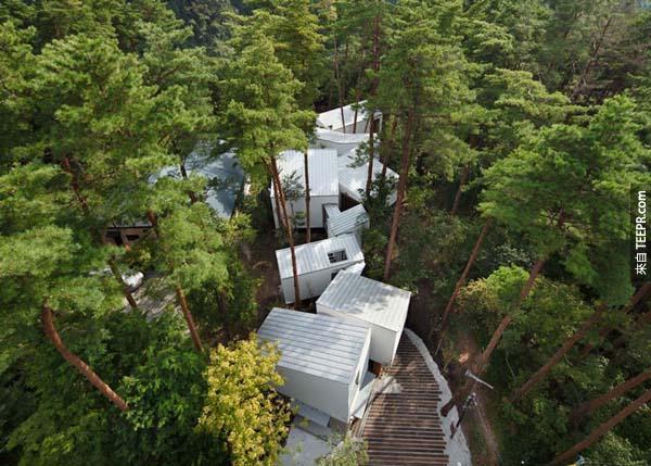 7.)位於日本大山町的這座建築很特別,他們並沒有為了蓋房子把森林中的樹木砍伐掉,而是改變房屋結構讓房子被樹林包圍。