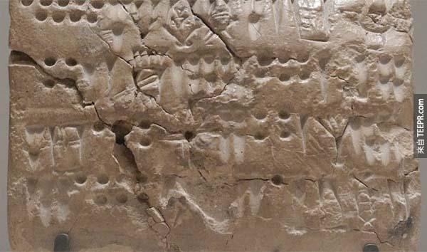 16.) 原始埃蘭文(Proto-Elamite):這些文字出現在西元前2900年前的伊朗南部。到今天人們還不知道這些文字的含意。