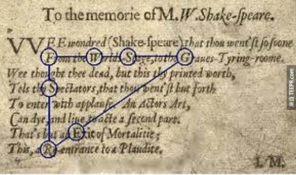 25.) 培根密碼: 弗朗西斯‧培根 (Sir Francis Bacon) 在他的文學作品中,創造了這些密碼。有人推測這個人就是莎士比亞 (因為很多人相信莎士比亞其實是一個筆名,而不是一個真人),但沒有人能夠斷定。