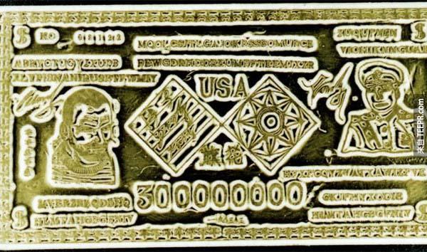 9.) 中國金條密碼 (Chinese Gold Bar Ciphers): 1933年,有7條金條發行給在上海的王將軍,金條上有圖片、文字、還有拉丁字母的密碼。