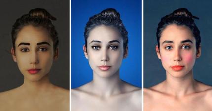 這個女生把自己的臉PS成25個不同國家的美女。每個國家的美真的差很多!
