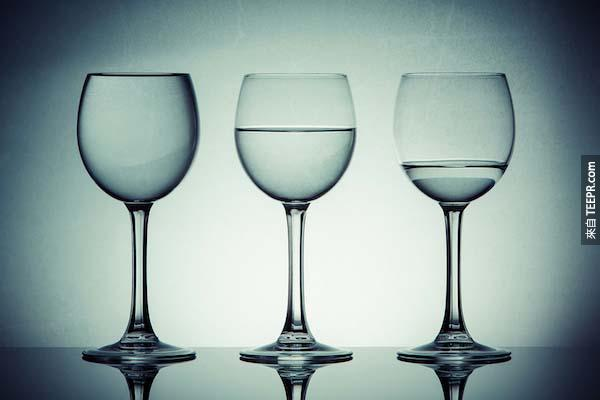87個人喝得到乾淨的水,13個喝不到。