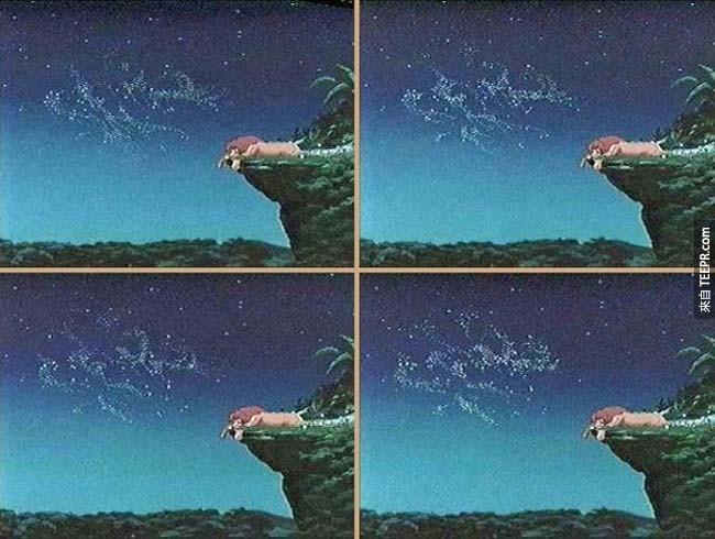 """电影狮子王中,星星在天空中拼出""""SEX"""",但迪士尼宣称且动画特效团队证明他们排字的其实是""""SFX""""。"""