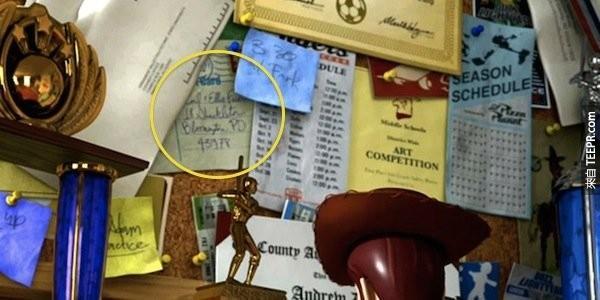 在电影天外奇蹟中Carl和Eillie寄的明信片,出现在玩具总动员的Andy的备忘板上,这代表Andy跟Ellie可能有关系。