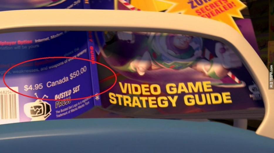 """电影玩具总动员2中有一幕,开了加拿大一小玩笑,""""如何解决札克""""这本书标价4.95美元,但是加拿大币却要50元。"""