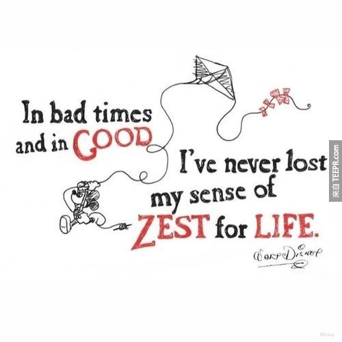 """""""不管如何,熱愛你的生活就對了!永遠都不要失去對生命的熱情。"""""""