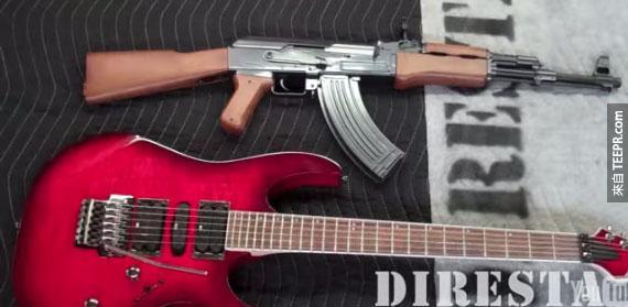 目標就是把下面的吉他做成像是上面的那支AK-47機關槍。