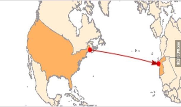 25.)緬因州是美國離非洲最近的一個地方。