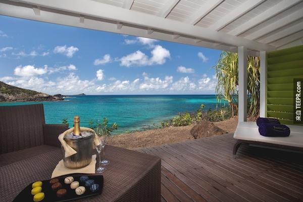該聖巴泰勒米島,度假村。