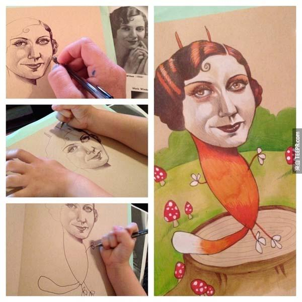 這名專業藝術家很不甘願地讓她的小女兒幫她畫。誰都沒有想到畫出來的結果會這麼棒!