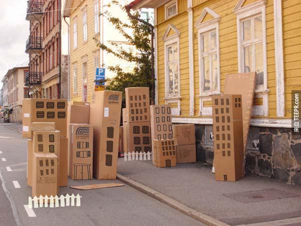 24.) 好可愛啊!是紙箱城市!