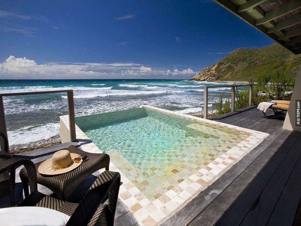 #26. 這個泳池是在維京群島的飯店( Biras Creek  hotel)內。