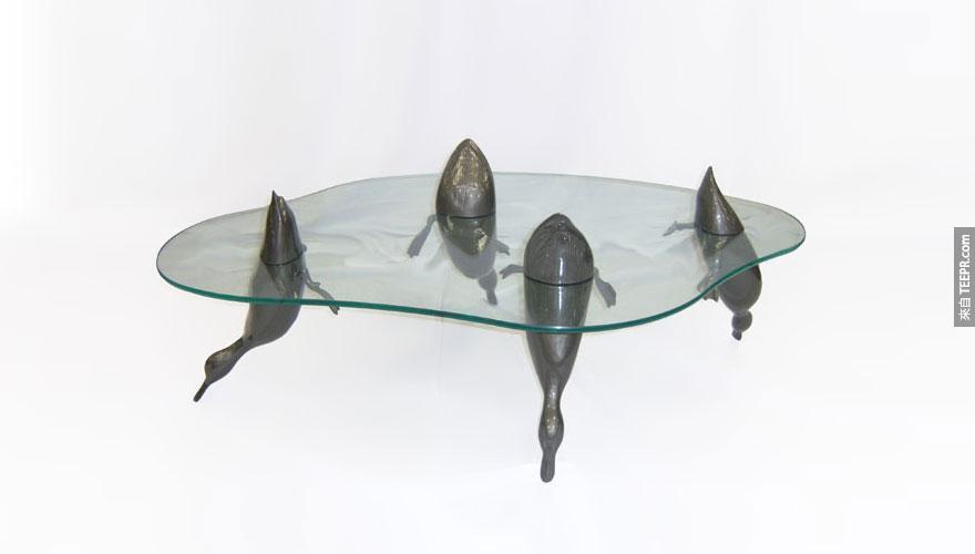 鴨子池塘桌