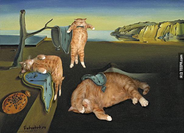 這名藝術家把她的胖貓融入到名畫作裡面後,瞬間世界爆紅。