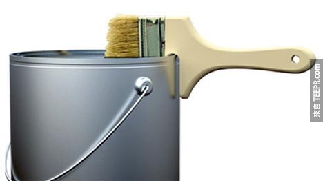 11. 可直接卡在油漆罐上的油漆刷。