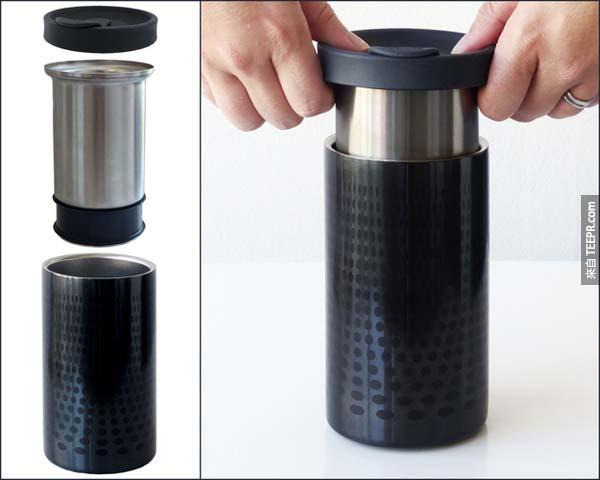 32.)攜帶式咖啡沖泡杯。