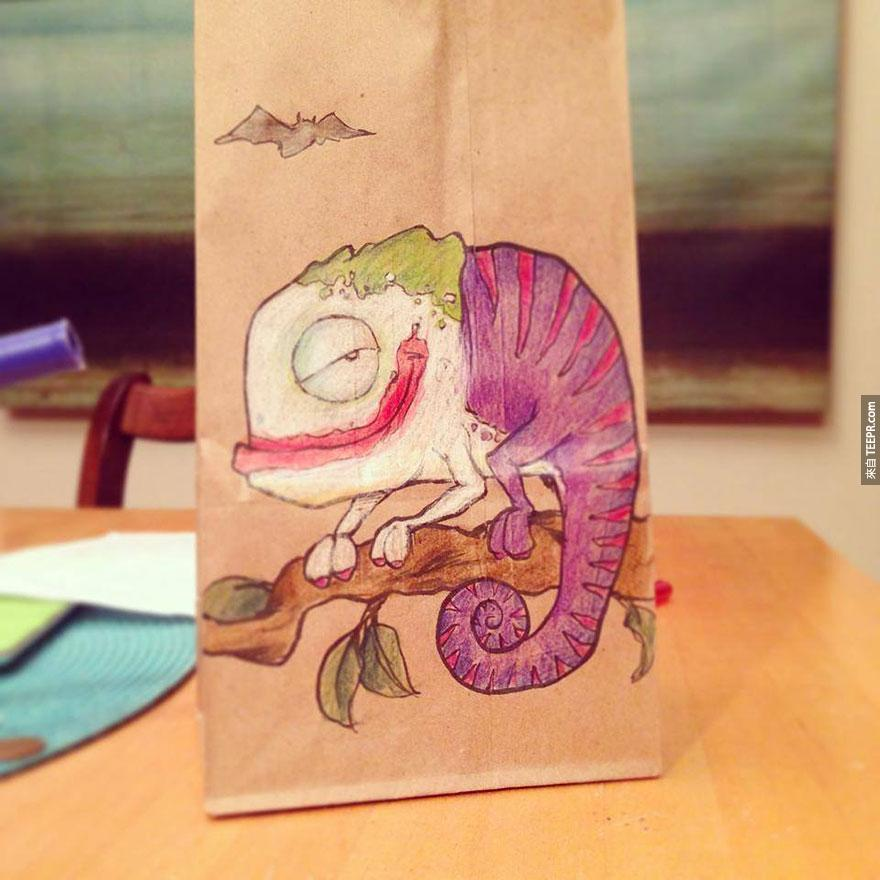 這名爸爸兩年來每天都在兒子的午餐袋上面畫上這些超酷的卡通人物。