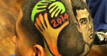 只要給這個剪髮師一個名字,他就會把你的頭變成一張照片!