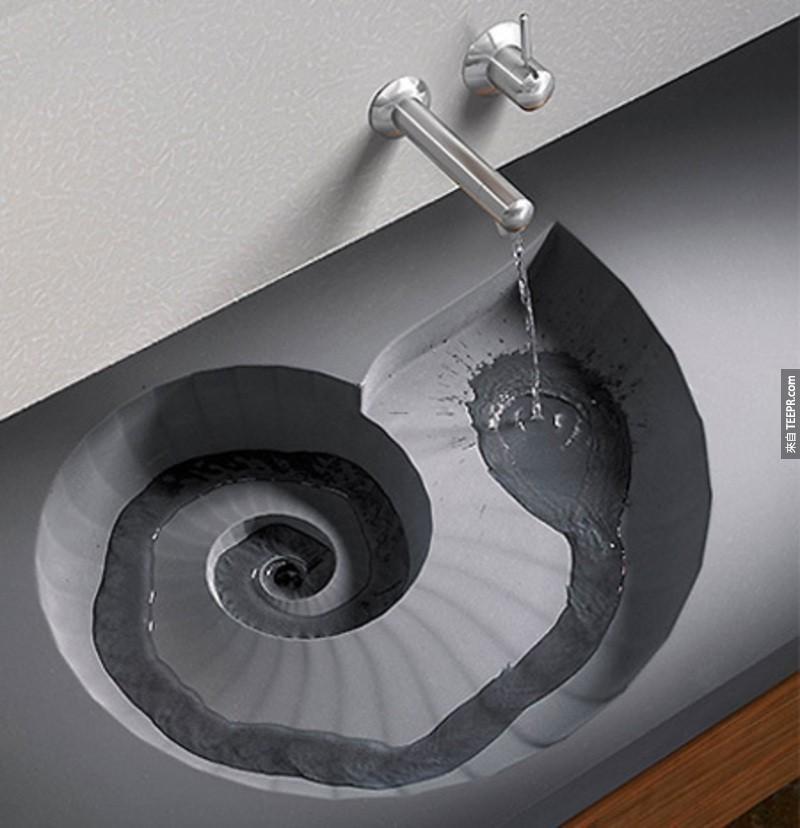 我大概會在打開水龍頭後觀察這個設計好幾分鐘,太神奇了!