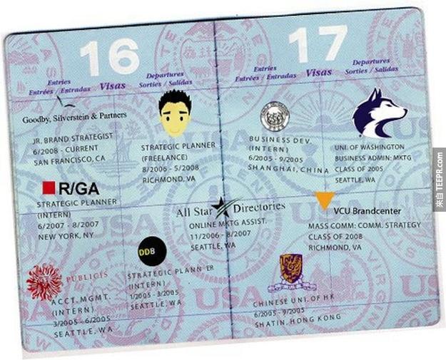 14.) 護照履歷表
