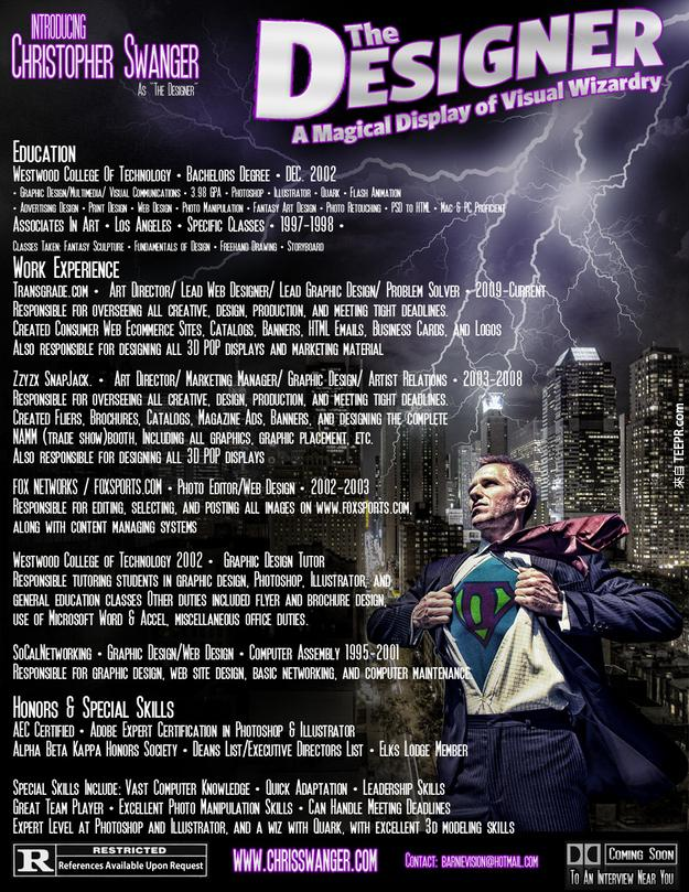 4.) 像是電影海報的履歷。設計師就需要這種!
