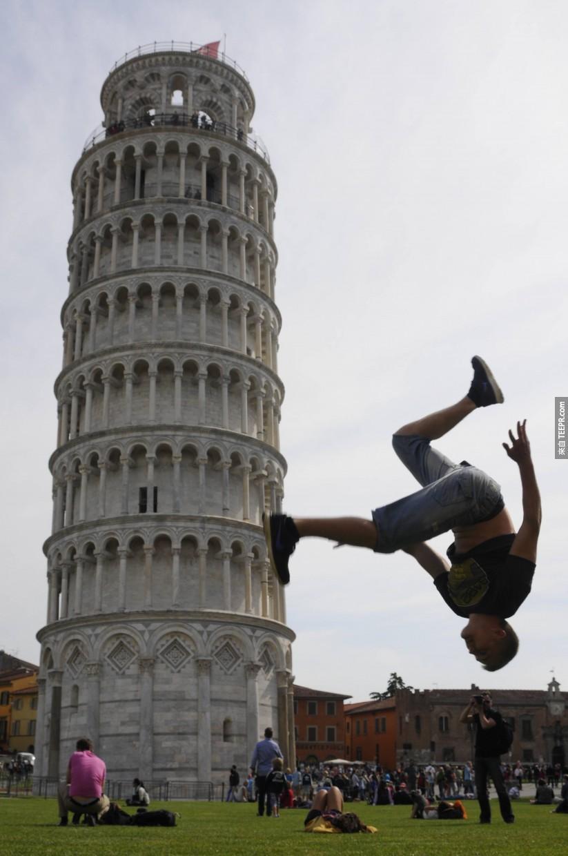 22.) I wonder if he stuck the landing. - Pisa, Italy