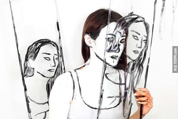 利用一些小小的技巧,愛拉沙米德(Alexa Meade )能說服別人看到一些實際上並不存在的東西。