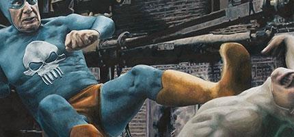 這個藝術家畫出超級英雄老了之後是如何打擊犯罪的。這才是我最想要看到的。