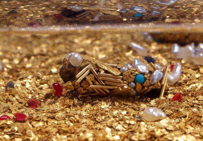 這名藝術家把黃金和珍珠提供給這些蟲,就為了製造出前無古人的藝術品。