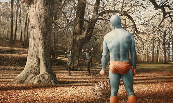 The Life and Times of an Aging Superhero Captured in Oil Paintings by Andreas Englund superheroes painting humor